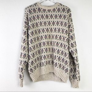 VTG Chunky Knit Unisex Grandpa Sweater Diamond Patterned Oatmeal Pullover Size L